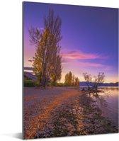 Wanakameer tijdens de herfst in Nieuw-Zeeland Aluminium 120x160 cm - Foto print op Aluminium (metaal wanddecoratie) XXL / Groot formaat!