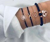 7) Zwart gouden armband 5-delig - armband cirkel armband infinity - armband rondje - armband met kralen - armband met hartje - Tibri