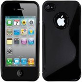 Apple Iphone 4 Soft Siliconen Skin Case, Stoere S-Line Telefoon Hoes, zwart , merk i12Cover