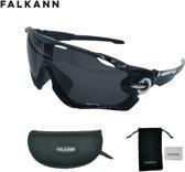 Fietsbril Met UV Bescherming - Sportbril - Zonnebril - Fiets Bril - Zwart/Zilver + Luxe Case