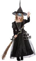 Heks & Spider Lady & Voodoo & Duistere Religie Kostuum | Zwarte Weduwe Spin Heks | Meisje | Maat 116 | Halloween | Verkleedkleding