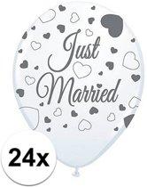 24x Just Married bruiloft thema versiering ballonnen voor bruidspaar