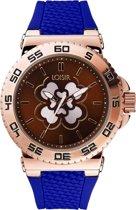 LOISIR horloge dames - donkerblauw rubber - 44 mm - roségoud RVS - klavertje vier