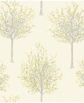 Nordic Elegance bomen creme/geel behang (vliesbehang, geel)