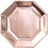 Wegwerp borden - Rosé goud (8 stuks)