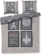 Zzzacht Parijs - dekbedovertrek - tweepersoons - 200 x 200/220 - Grijs