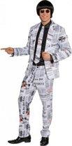 Krantenprint kostuum voor heren 52 (L)