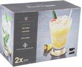 2x luxe cocktailglazen/drinkglazen - 400 ml - 2-delig - cocktailglas/longdrinkglazen