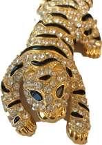 Broche tijger goudkleurig met Swarovski steentjes