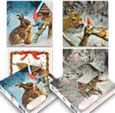Set van 20 luxe Rien Poortvliet kabouter-kerstkaarten (set 1)