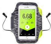 Sportband voor iPhone Xs/ X, iPhone Xs Max & iPhone Xr hardloop sport armband – DEVIA Easy Go Armand – Zwart/Grijs (met sleutel- en pashouder)