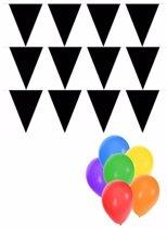 Pakket 3x vlaggenlijn XL zwart incl gratis ballonnen - versiering