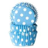 House of Marie MINI Cupcake Vormpjes Stip Blauw - pk/60