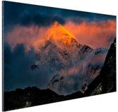 Zonsondergang Himalaya Aluminium 120x80 cm - Foto print op Aluminium (metaal wanddecoratie)