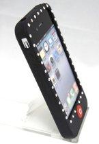 zacht rubberen backcase met bling bling zwart voor iphone 4/4s