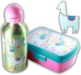 Alpaca broodtrommel + aluminium drinkfles Groen   Lunchbox kinderen LS13