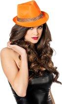 Gangster hoed met strass band neon-oranje