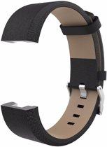 KELERINO. Leren band voor Fitbit Charge 2 Gespsluiting - Zwart