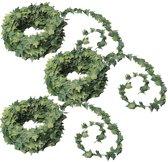 3x Mini klimop kunstplant guirlande 7,5 meter - Urban jungle - Botanisch thema decoratie slingers bruiloft/themafeest
