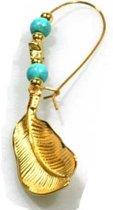Heaven Eleven - oorbel - hanger goud met turquoise