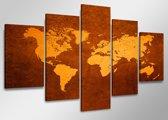 Wereldkaart - Canvas Schilderij Vijfluik 160 x 80 cm