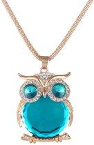 Fako Bijoux® - Ketting - Uil - Spiegel - XL - Goudkleurig - Blauw