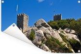 Versterkte muren van het kasteel dos Mouros in het Portugese Sintra Tuinposter 60x40 cm - klein - Tuindoek / Buitencanvas / Schilderijen voor buiten (tuin decoratie)
