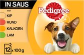 Pedigree Adult Selection Multipack - Kip, Lam, Gevogelte, Rundvlees in saus - 12 x 100 gr