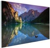 Meer tussen de bergen Glas 30x20 cm - klein - Foto print op Glas (Plexiglas wanddecoratie)