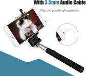 Audio Plug Selfiestick voor Smartphones tot 6 ich I Android en iOS I Plug and Play I Zwart
