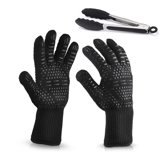 Hittebestendige Barbecue Handschoenen – 2 Stuks - Inclusief BBQ Tang - Tot 500 ℃ - Hoogwaardige Comfortabele BBQ Handschoenen - N407 Gecertificeerd – Ovenhandschoenen – Ovenwanten – Zwart