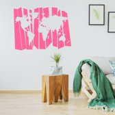 Muursticker Wereldkaart -  Roze -  160 x 120 cm  - Muursticker4Sale