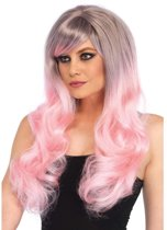 Lange golvende tweekleurige pruik grijs/pastel roze - Kostuum Party - Leg Avenue