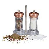 relaxdays - peper- en zoutmolen - pepermolen set - kruidenmolen koper, kruiden