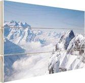 Berglandschap in de winter Hout 30x20 cm - klein - Foto print op Hout (Wanddecoratie)