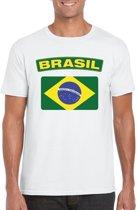 Brazilie t-shirt met Braziliaanse vlag wit heren 2XL