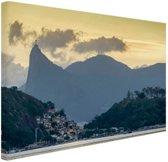 Hoge bergtoppen Rio de Janeiro Canvas 60x40 cm - Foto print op Canvas schilderij (Wanddecoratie)