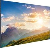 Zonsondergang in de bergen Aluminium 180x120 cm - Foto print op Aluminium (metaal wanddecoratie) XXL / Groot formaat!