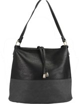 dc38b8b6d04 Zwarte schoudertas handtas damestas buidel met half ruwe half gladde  voorkant met decoratief element. Vergelijk. Hipperz