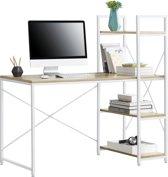 [en.casa] Bureau met 4 planken Emmen - wit en hout
