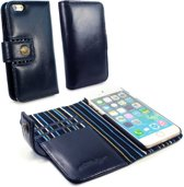 Alston Craig Echt Leren Magnetische Portemonnee Hoesje met RFID Bescherming voor iPhone 7 en iPhone 8 - Blauw