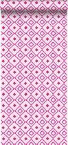 HD vliesbehang ruit fuchsia roze - 138862 ESTAhome.nl