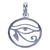 Zilveren Oog van Horus ketting hanger - rond