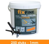 Tegel Levelling Systeem - Nivelleersysteem - Starter Set - 250 stuks – 1mm