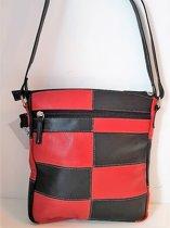 Dames tas ECHT LEDEREN TAS  vakantietas documeten tas WOODBAG Zwart met rood