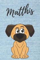 Matthis Hunde-Notizbuch / Malbuch / Tagebuch: Individuelles personalisiertes blanko Jungen & M�nner Namen Notizbuch, blanko DIN A5 Seiten. Ideal als U