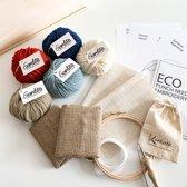 Luxe Houten Punch Naald Pakket in Kadokist l Ecologisch kado voor creatief persoon l Kleurset BLAUW