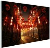 Chinese straat met lampionnen Glas 30x20 cm - Foto print op Glas (Plexiglas wanddecoratie)