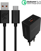 Chargeroo USB-C Kabel met Oplader - Qualcomm Quick Charge 3.0 - 1.2 meter - 18W/3A Adapter Snellader - Zwart
