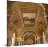 Unieke architectuur in het Vaticaanse Musea Aluminium 20x20 cm - klein - Foto print op Aluminium (metaal wanddecoratie)